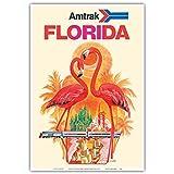Florida - Walt Disney World - Amtrak Takes you Clear Across America - Flamingos - Vintage Railroad Travel Poster by David Klein c.1970s - Master Art Print - 13in x 19in