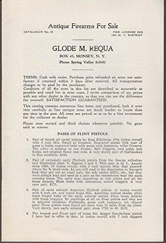 Glode M Requa Antique Firearms Catalog #23 ca 1940s Monsey NY