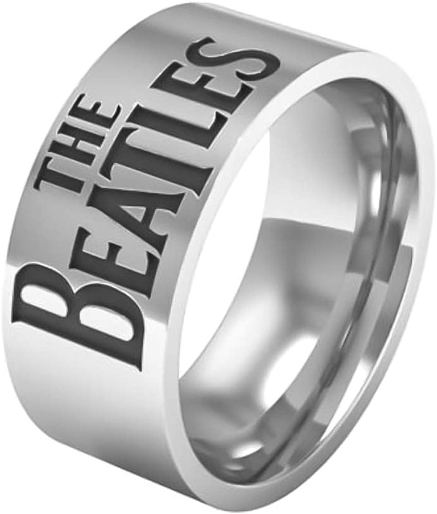 Sping Jewelry The Beatles Ring 8mm Rock Punk Music Titanium Steel Band