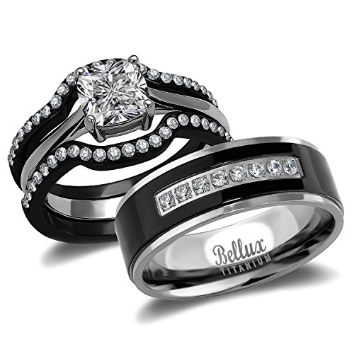 His and Hers Wedding Ring Sets Couples Matching Rings - Women's Steel Wedding Rings & Men's Titanium Wedding