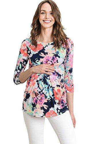 - LaClef Women's Round Neck 3/4 Sleeve Front Pleat Peplum Maternity Top (Navy Multi, Medium)