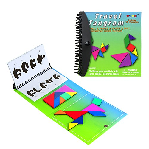 USATDD Tangram Game Magnetic Puzzle Travel Game Tangrams jigsaw with Solution Answer Kid Adult Challenge IQ Book Colorful Educational Toy For 3-100 Years Old (2 set of Tangrams Green Version)