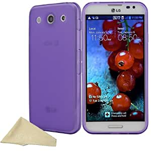 EnGive LG optimus G Pro Soft Gel Rubber Flexible TPU Case with Free Cleaning Cloth (Purple)