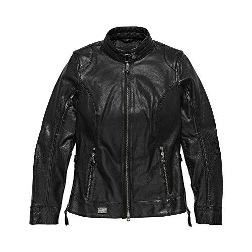(Harley-Davidson Official Women's Line Stitcher Leather Jacket, Black (Large))