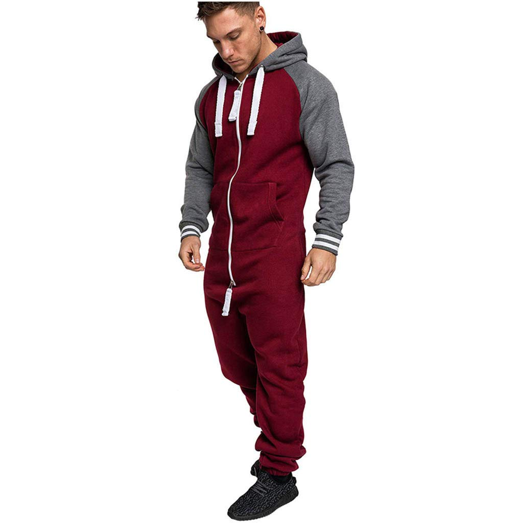 BHYDRY Jumpsuit Men Black Hoodie Zipper Autumn Winter Casual Pure Color Splicing Overalls
