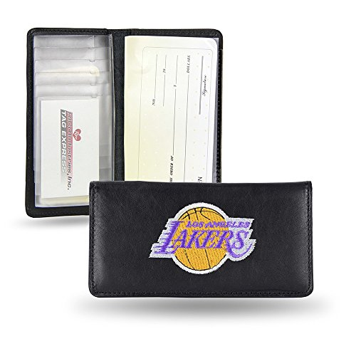 (NBA Los Angeles Lakers Embroidered Genuine Cowhide Leather Checkbook Cover)