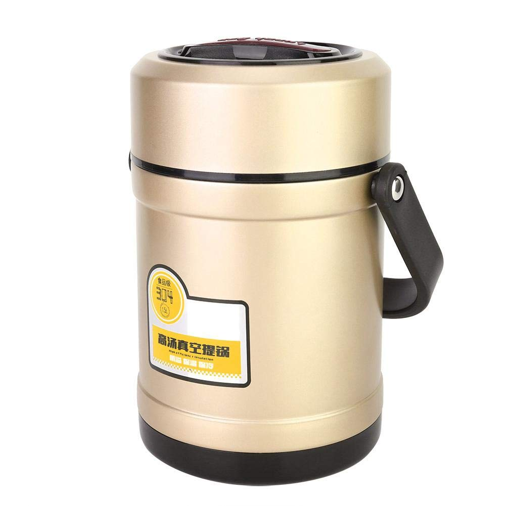 2L Contenedor de comida de caja de almuerzo con aislamiento t/érmico de vac/ío de acero inoxidable Biuzi Negro Contenedor de almuerzo aislado