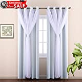 NICETOWN Double-Layer Bedroom Thermal Insulated Dressing White Crushed Sheer x Blackout Curtains for 17 inch-40 inch Width Window (Package of 2 2-Layer Drapes, Platinum, Tie Backs Included)