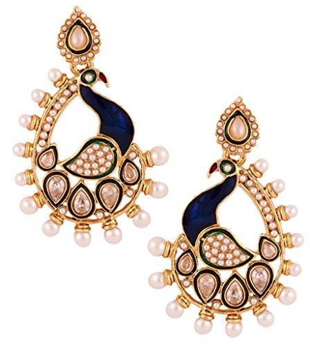 The Jewelbox Ethnic Traditional Bollywood Dancing Peacock 22 K Gold Plated Blue Pearl Dangling Earring