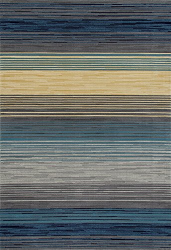 Art Carpet Bastille Collection Heathered Stripe Border Woven Area Rug, 4' x 6', Blue/Yellow/Gray from Art Carpet