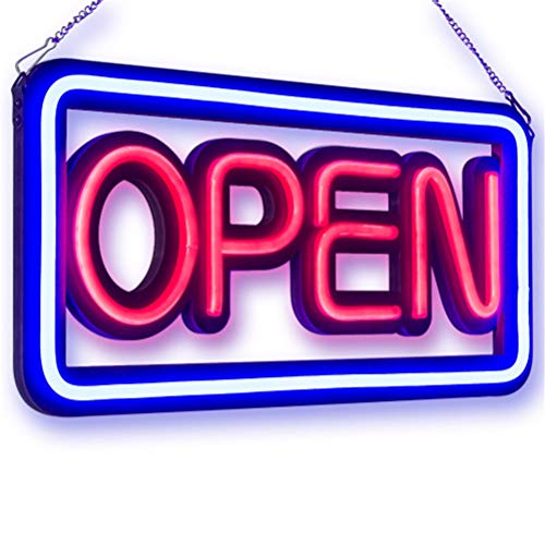 Neon Open Sign, Square Hang Open LED Spectacular Sign Outdoor LED Open Sign for Shop Window Display Illuminated LED Sign Super Bright -50 x 25 x 3cm