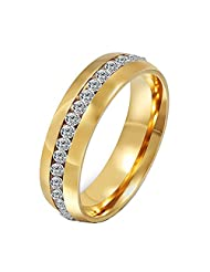 ALBEST Jewelry Women's Stainless Steel Single Row Diamond Ring (Available in Sizes 5-13)