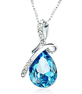 Lily Jewelry Sliver Plated Love Heart Angel Wings Elements Rhinestone Crystal Necklace