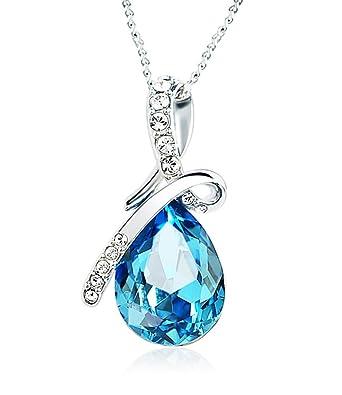 Celebrity Jewellery Forme Bleu cristal autrichienne forte baisse Pendentif  KC Collier plaqué or blanc ba8678f21681