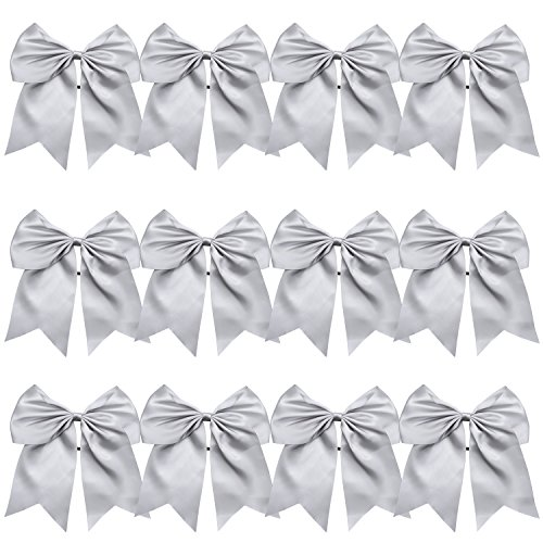 8 Inch Jumbo Cheerleader Bows Ponytail Holder Cheerleading Bows Hair Tie More Colors Available (Silver)