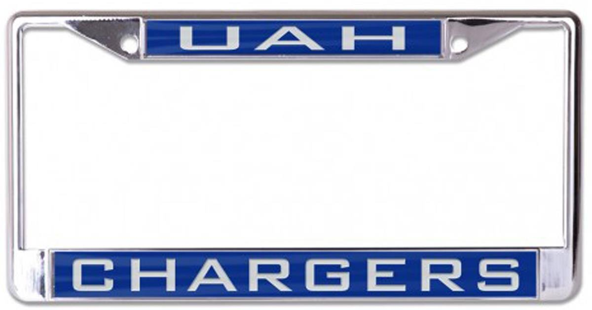 2 Mount Holes Metal with Inlaid Acrylic Wincraft University of Alabama at Huntsville UAH Chargers License Plate Frame