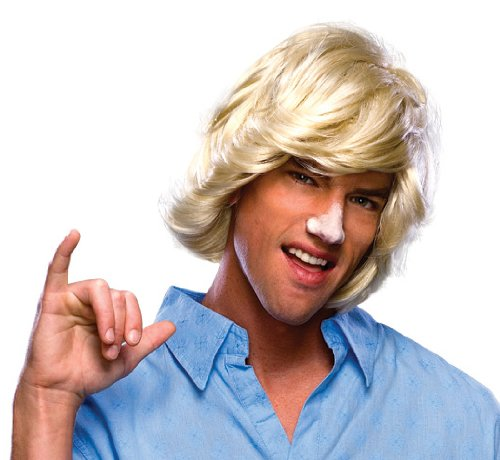 Rubie's Mens Surfer Dude Halloween Party Costume Wig Ivory O/S ()