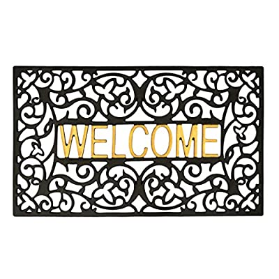 gbHome GrayBunny GH-6759A Entrance Doormat, Waterproof PVC Welcome Door Mat w/Non-slip Backing, Easy to Clean Stylish Outdoor Mat, Front and Back Door, Garage or Porch Entryway, Poolside, Patio