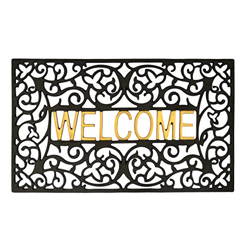 gbHome GrayBunny GH-6759A Entrance Doormat, Waterproof PVC Welcome Door Mat w/Non-slip Backing, Easy to Clean Stylish Outdoor Mat, Front and Back Door, Garage or Porch Entryway, Poolside, (Gold Door Mat)