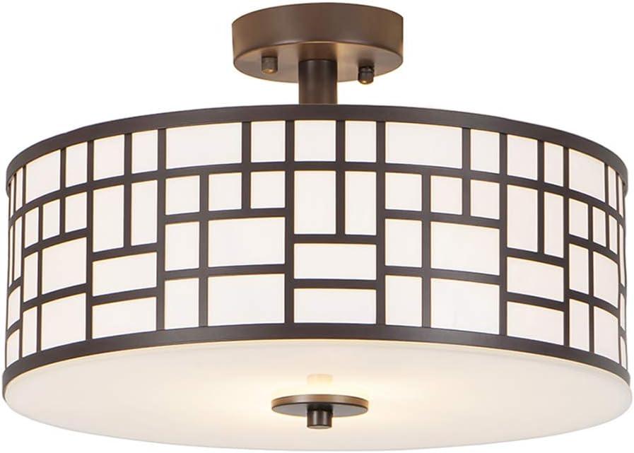"""SOTTAE 12"""" Elegant 2 Lights Oil Rubbed Bronze Finished Outdoor/Indoor Metal Hanging Fixture Lighting Flush Mount Ceiling Light,Ceiling Lamp"""