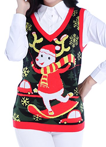 (v28 Ugly Christmas Sweater, Women Girls Vintage Knit Reindeer Xmas Sweater Vest(M,)