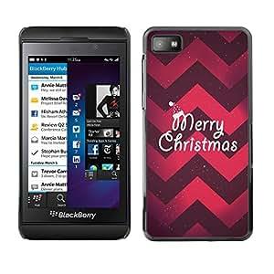 For Blackberry Z10 Case , Christmas Chevron Red Purple Xmas - Diseño Patrón Teléfono Caso Cubierta Case Bumper Duro Protección Case Cover Funda