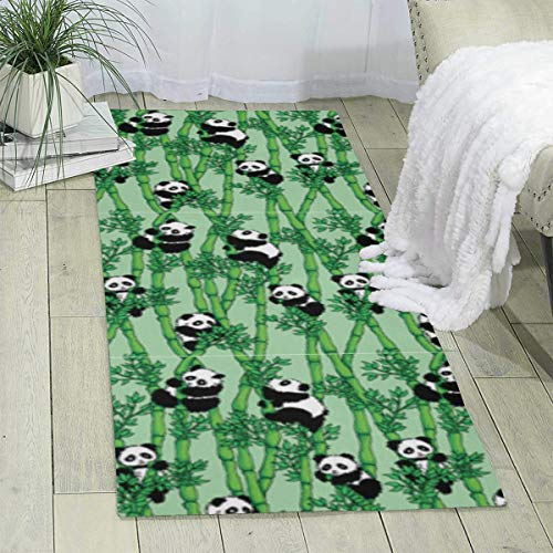 (Rainbow Space Bamboo Panda Super Soft Indoor Modern Shag Area Silky Smooth Fur Fluffy Rugs Anti-Skid Shaggy Area Dining Room Home Bedroom Carpet Floor Mat 70