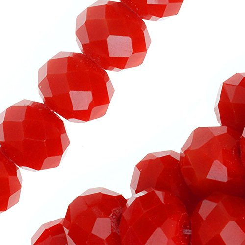 Chinese Glass Beads, Faceted Rondelles 6x8mm, 16 Inch Strand, Opaque Bright Red