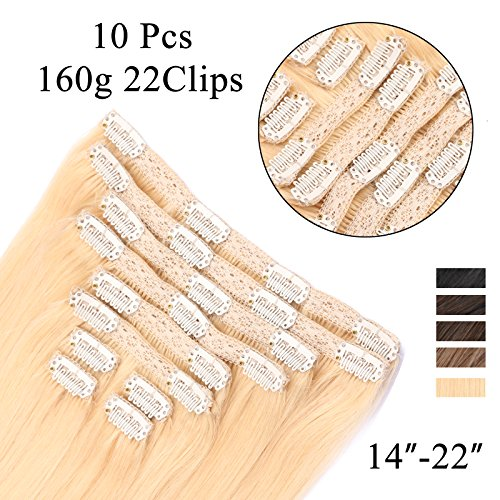 REMY Human Hair Extensions Full Head Lace Clip In with 10 Separate Pieces (Total 22 Clips ) Silky Straight Remy Hair Color60# Platinum Blonde 20