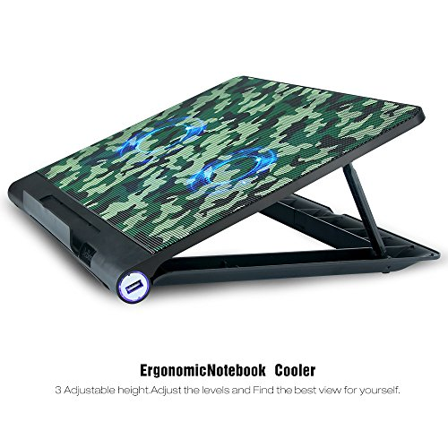 Camo Laptop Cooling Mat Aicheson 2 Big Quiet Fan With Usb Powered Gaming Laptop Chiller Computer Cooler Pad Adjustable Stand And Led Lights Cooling Fans For Pc Notebook Buy Online In
