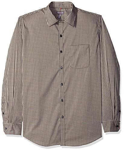 Van Heusen Men's Traveler Stretch Long Sleeve Button Down Black/Khaki/Grey Shirt, Chinchilla Minicheck, XX-Large ()