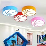 Ceiling light Round led color basketball Children's room Cartoon kindergarten boy bedroom ( Color : Yellow , Size : C(with remote control) )