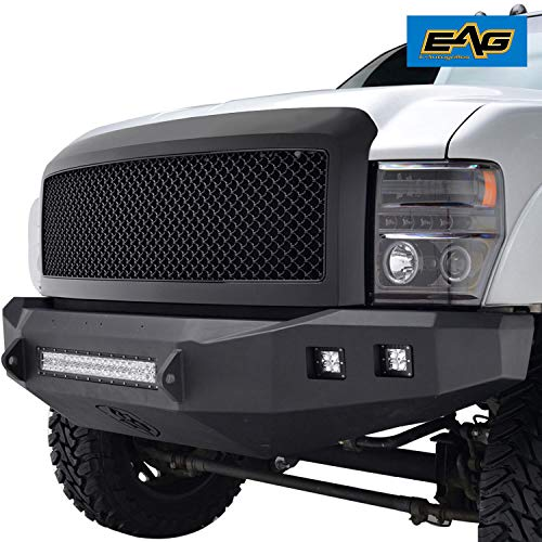 EAG Replacement Upper Grille Black Mesh Full Grill Fit for 08-10 Ford F-250/F-350/F-450 Super Duty