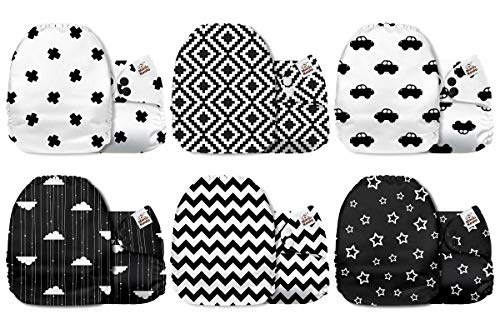 Mama Koala One Size Baby Washable Reusable Pocket Cloth Diapers, 6 Pack with 6 One Size Microfiber Inserts (Black & White) from Mama Koala