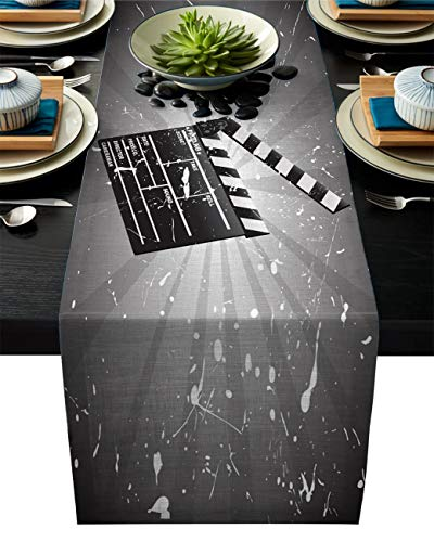 (Movie Theater Cotton Linen Table Runner Rectangle Plate Mat Outdoor Rug Runner for Coffee Dining Banquet Home Decor, Clapper Board on Retro Backdrop with Grunge Effect Director Cut, 18 x 72 inch)