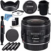 Canon EF 28mm f/2.8 IS USM Lens 5179B002 + 58mm Macro Close Up Kit + Lens Pouch + Lens Pen Cleaner + 58mm Tulip Lens Hood + Fibercloth + Deluxe Cleaning Kit Bundle