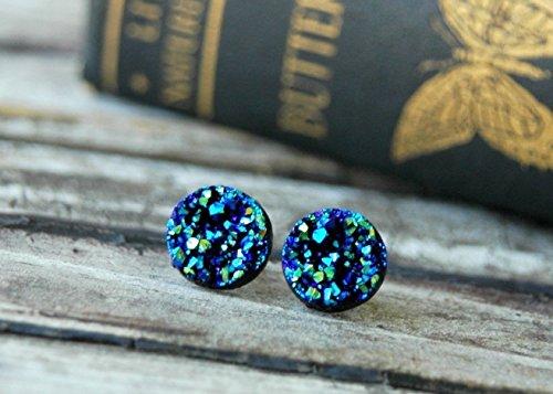 Women Post (12mm . Blue Metallic Faux Druzy Stud Earrings . Hypoallergenic Surgical Steel Posts . Gift for Women)