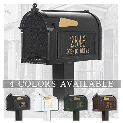 Personalized Whitehall Premium Mailbox with Side Address Plaques & Post Package (4 Colors Available)