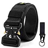 Fairwin Tactical Belt for Men, Military Style Nylon Web Belt with Heavy-Duty Quick-Release Metal Buckle(Black)