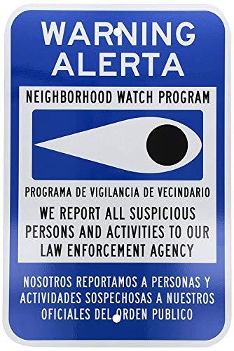 Metal Sign Great Aluminum Tin Sign Warning Neighborhood Watch Program Bilingual Sign 12