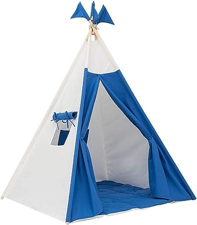wadwo Tienda de campaña para niños - Tienda de Interior Grande para Jugar al Aire Libre para niñas o niños - Lona portátil Azul Fiesta de Tipi Indio Fuerte: Amazon.es: Hogar