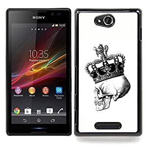 - Crown Skull White Black Bling King - - Snap-On Rugged Hard Cover Case Funny HouseFOR Sony Xperia C S39h C2305