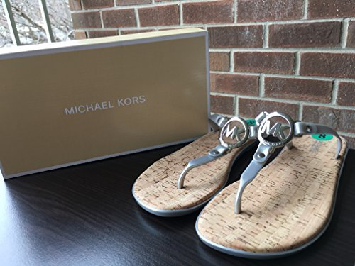 Michael Thongs Leather Kors (Michael Kors MK Charm Jelly Flip Flop Cork Bottom, Silver (7))