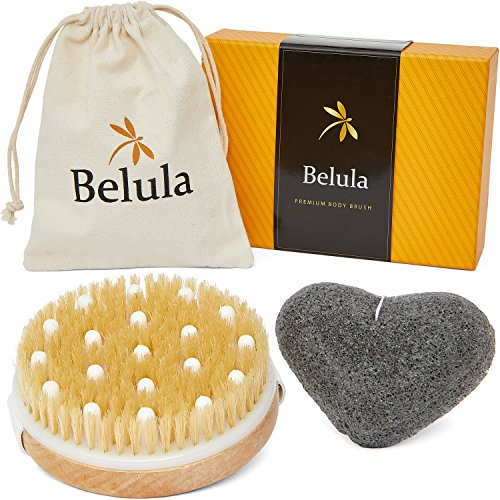 Premium Dry/Wet Brushing Body Brush Set- Reduce Cellulite While