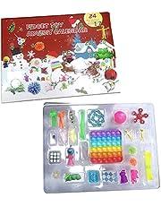 2021 Fidget Advent Calendar Toy Set, 24Pcs Holiday Christmas Countdown Calendar Sensory Fidget Toys Pack, Simple Dimple Pop it Fidget Toy Box, Surprise Gifts Boxes Xmas Party Favor for Kids Adults