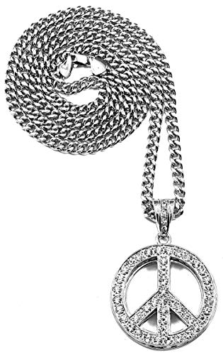 - GWOOD Peace Sign Pendant with 36 Inch Long Cuban Necklace (Silver Color)