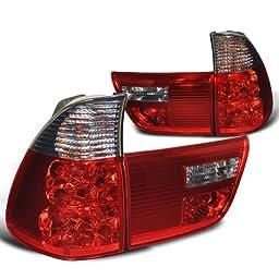 Spec-D Tuning LT-X500RG-APC Bmw X5 E35 4.4I 3.0I 4.6I 4 Door, Red Smoked Lens 4 Pcs Tail Lights