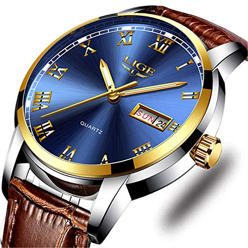 Mens Watches Luxury Waterproof Quartz Casual Watch LIGE Fashion Automatic Date Wrist Watch with Brown Leather - Date Mens Wrist Watch Big