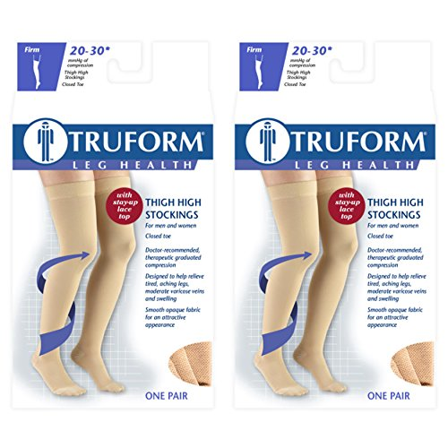 (Truform Compression 20-30 mmHg Thigh High Lace Top Stockings Beige, Medium, 2 Count)