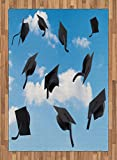 Graduation Area Rug by Lunarable, Caps Thrown into Sky Last of the School Highschool College Ceremony Picture, Flat Woven Accent Rug for Living Room Bedroom Dining Room, 5.2 x 7.5 FT, Blue Black